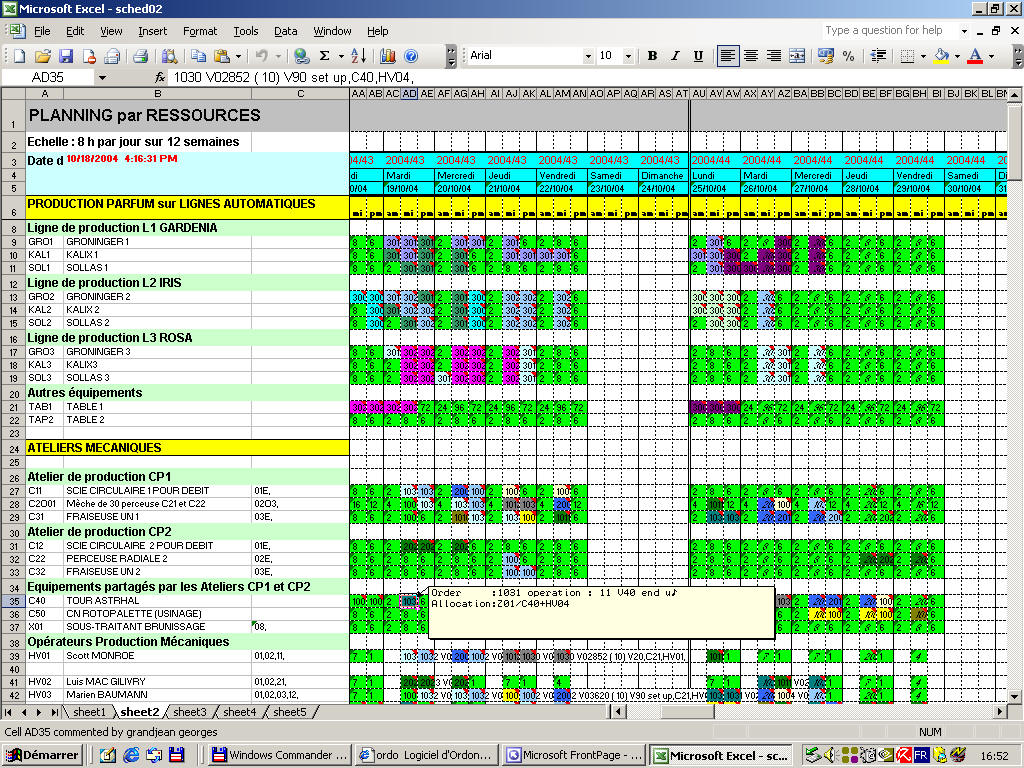 exemple planning de production excel